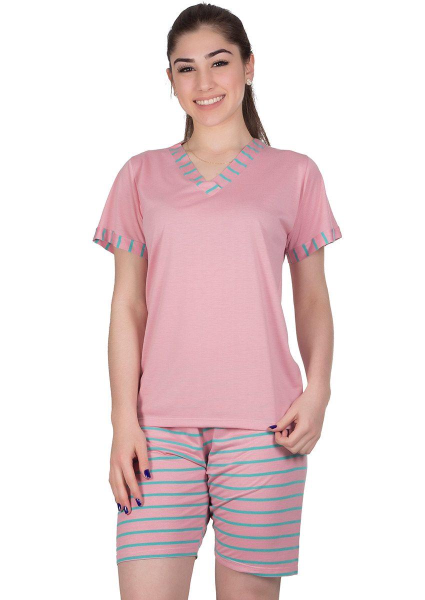 d042ba28d9e83d Pijama Feminino Manga Curta Malha Listrada Maia