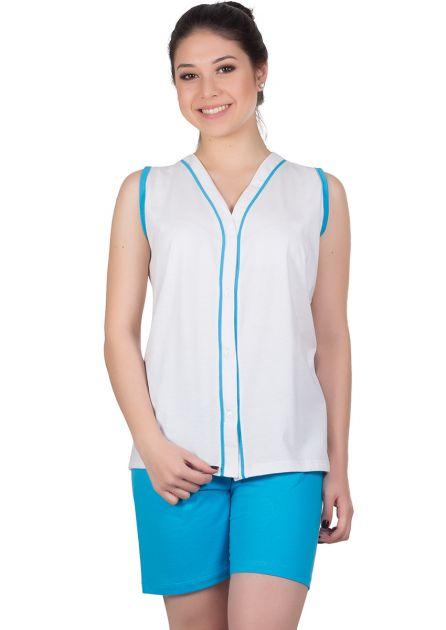 Pijama Feminino Plus Size Aberto Algodão Liso Gina