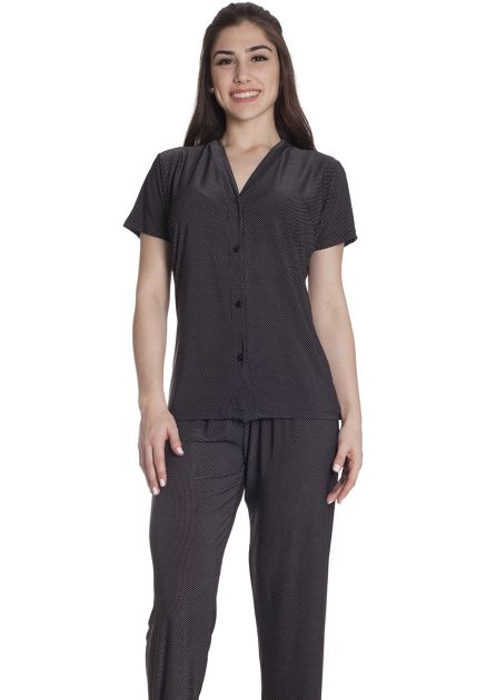 Pijama Feminino Plus Size Aberto Liganete com Calça Longa Estampa Poá
