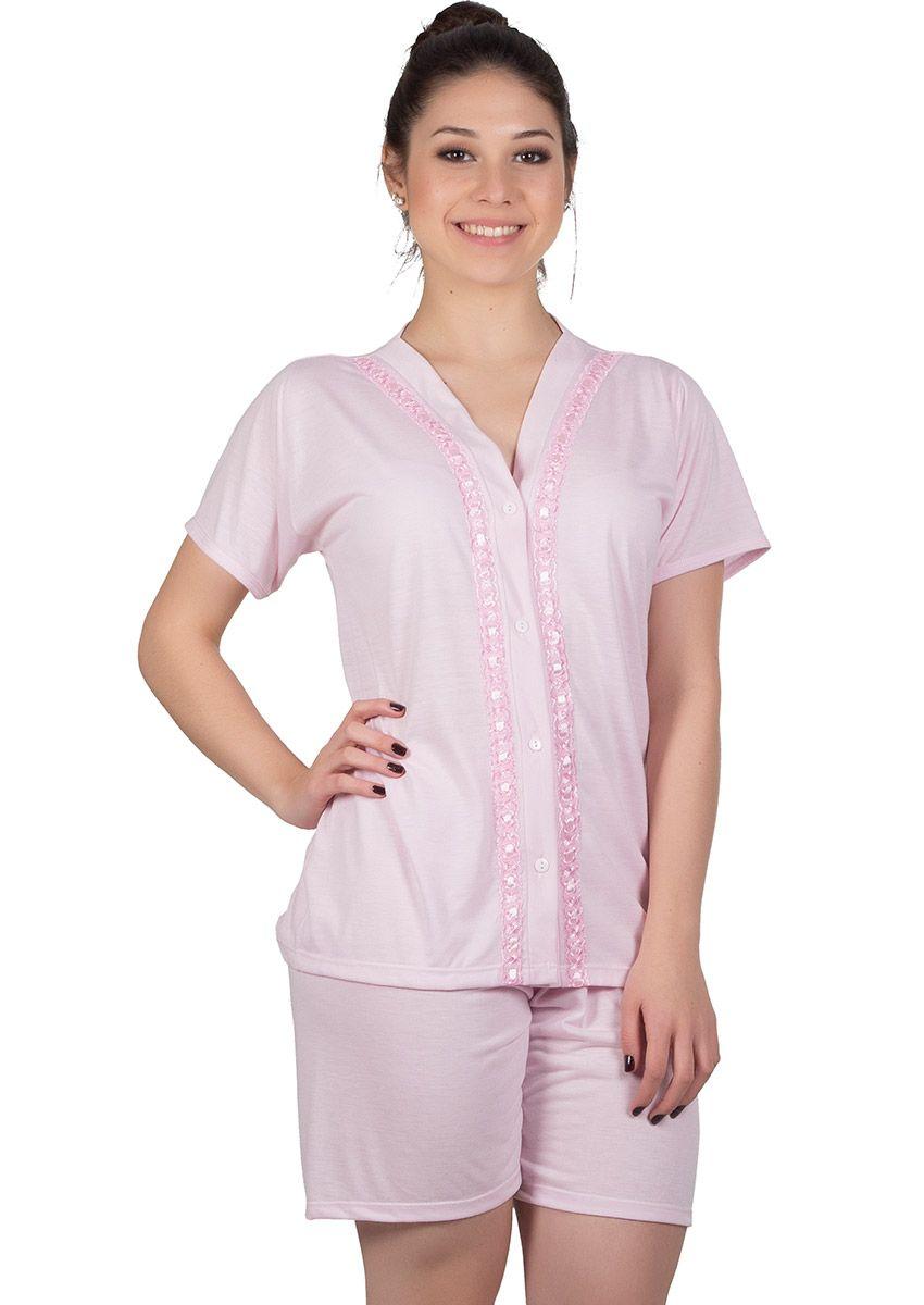 9cade4adf9c0 Pijama Feminino Plus Size Aberto Passa Fitas Malha Lisa Nena na ...