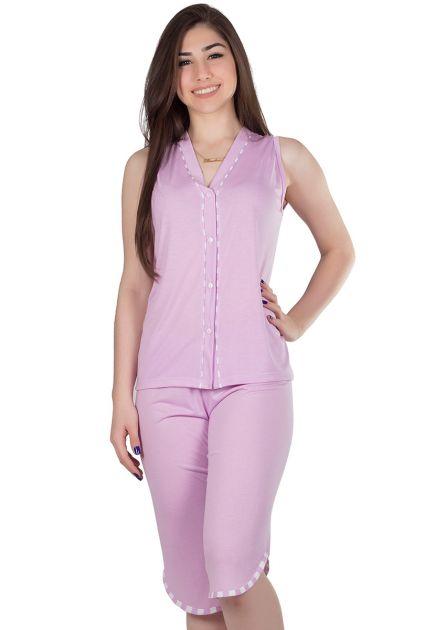 Pijama Feminino Plus Size Aberto Pescador Malha Lisa Tina