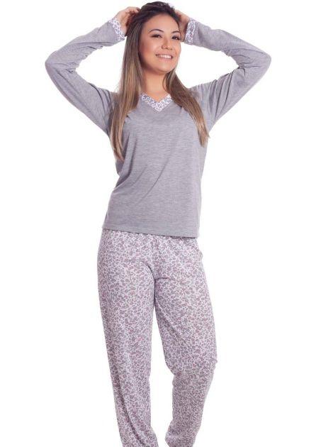 Pijama Feminino Plus Size Calça Estampada Oncinha