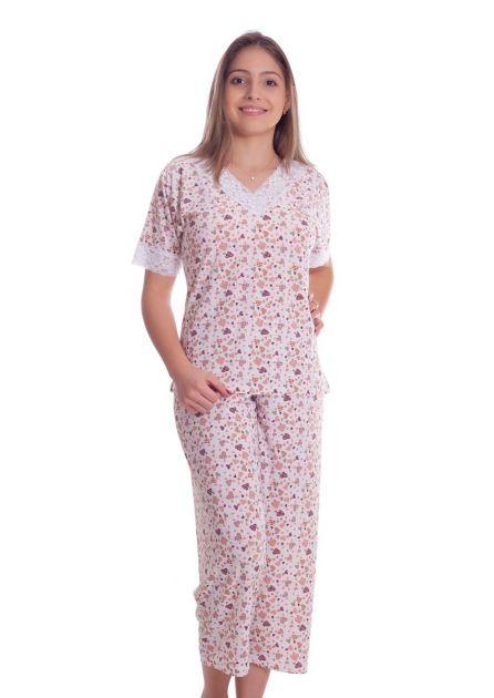 Pijama Feminino Plus Size Capri em Liganete Poliéster Estampada Com Renda