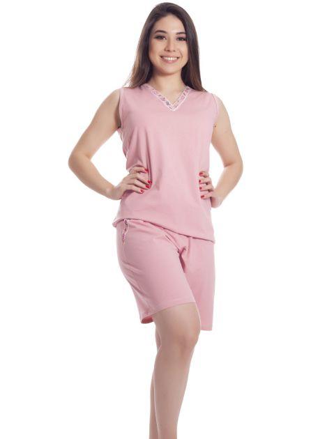 Pijama Feminino Plus Size Cavado Algodão Liso Dina