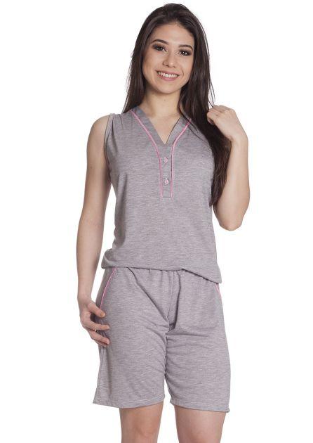 Pijama Feminino Plus Size Curto com Bermuda e Blusa Cavada com Botões em Malha Mescla