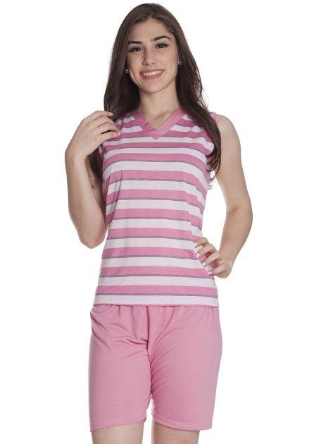 Pijama Feminino Plus Size Curto com Bermuda e Blusa Regata em Malha Listrada