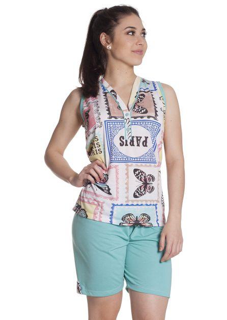 Pijama Feminino Plus Size Curto com Bermuda e Regata Estampada com Botões Coloridos