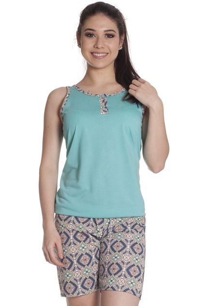 Pijama Feminino Plus Size Curto com Bermuda e Regata Malha Estampa Mosaico