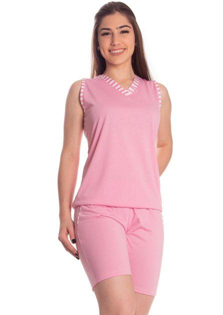 Pijama Feminino Plus Size Curto com Bermuda e Regata Malha Lisa Classico