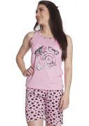 Pijama Feminino Plus Size Curto com Bermuda Malha Estampada Poá