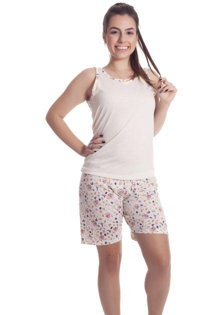 Pijama Feminino Plus Size Curto com Bermuda Malha Estampada Variada