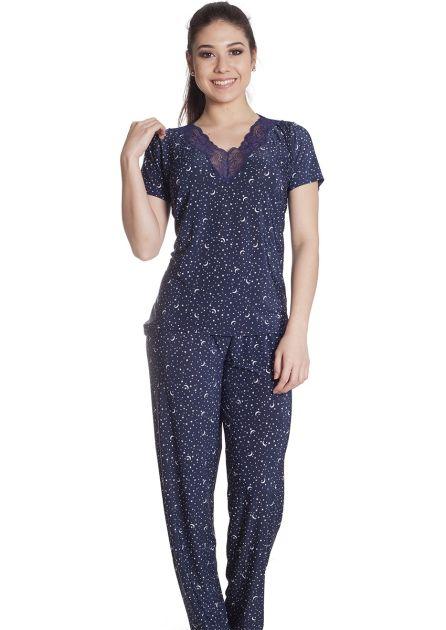 Pijama Feminino Plus Size Fechado Liganete com Renda Estampa Luas e Estrelas