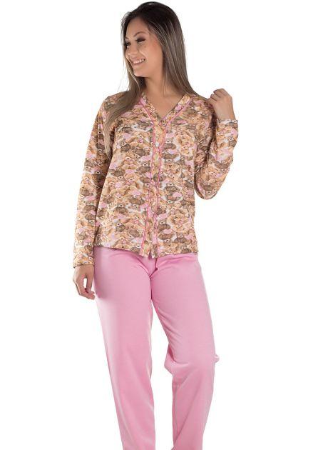 Pijama Feminino Plus Size Flanelado Aberto Blusa Estampa Ursinho Manu