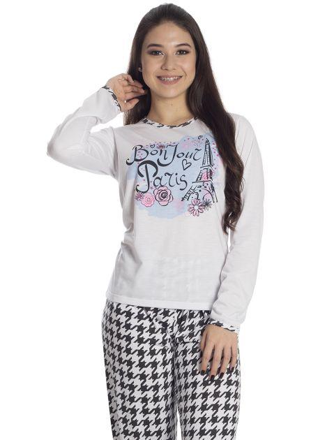 Pijama Feminino Plus Size Flanelado Calça Quadriculado e Blusa Paris