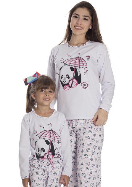 Pijama Feminino Plus Size Flanelado Longo Mãe e Filha Estampa Panda