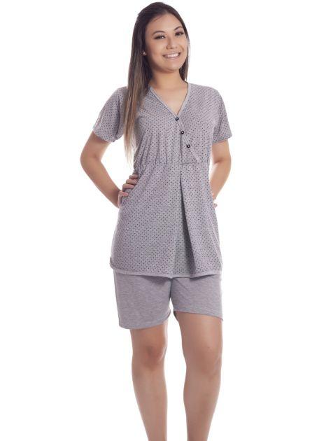 Pijama Feminino Plus Size Gestante Aberto Malha Poliviscose Blusa Bata com Alça Be Happy