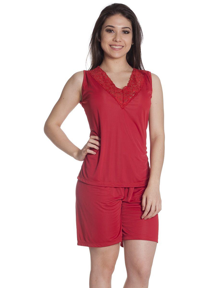 476c0e2ec41da0 Pijama Feminino Plus Size Liganete Poliamida com Renda e Bermuda Rubi