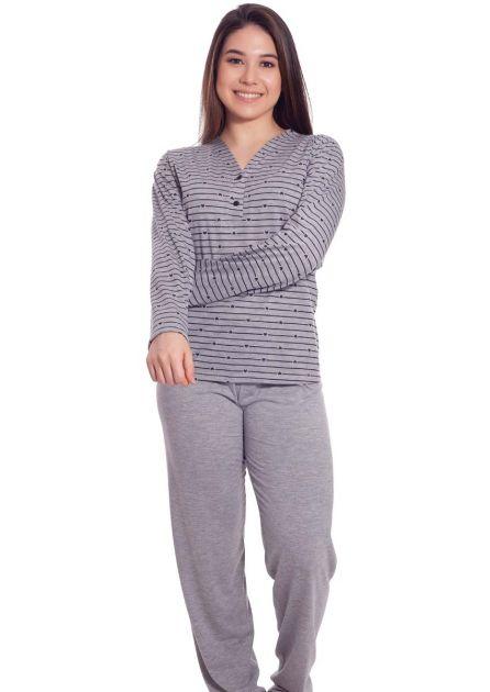 Pijama Feminino Plus Size Longo Aberto Calça Malha Lisa e Blusa Listrada