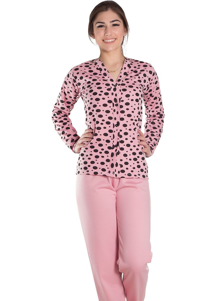 4b32aac1d Pijama Feminino Plus Size Longo Aberto Flanelado Blusa Poá Malu na ...
