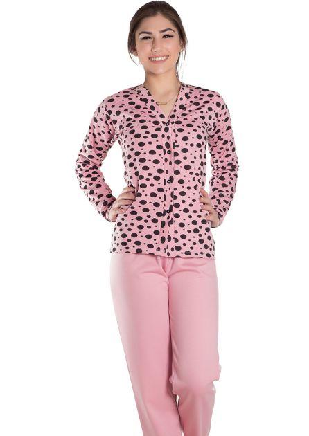 Pijama Feminino Plus Size Longo Aberto Flanelado Blusa Poá Malu