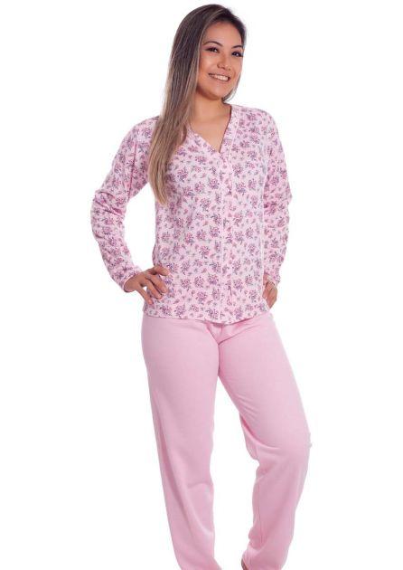 Pijama Feminino Plus Size Longo Aberto Flanelado Estampado Oncinha Melina