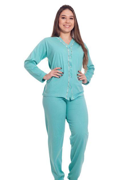 Pijama Feminino Plus Size Longo Aberto Malha Lisa Clássico