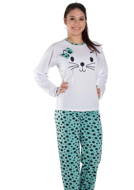 Pijama Feminino Plus Size Longo Fechado Flanelado Calça Poá Giulliana