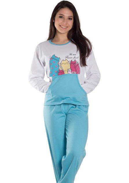 Pijama Feminino Plus Size Longo Flanelado Blusa com Bolsos e Gatinhas Giullia