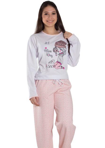 Pijama Feminino Plus Size Longo Flanelado Calça Estampa Variada Giovanna