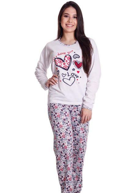Pijama Feminino Plus Size Longo Flanelado Mãe e Filha Corações