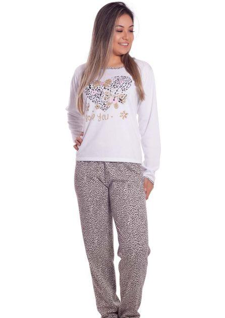 Pijama Feminino Plus Size Longo Flanelado Mãe e Filha Oncinha