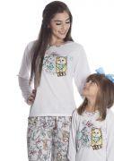 Pijama Feminino Plus Size Longo Mãe e Filha Malha Estampa Borboletas