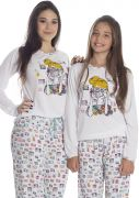 Pijama Feminino Plus Size Longo Mãe e Filha Malha Estampada Colorida