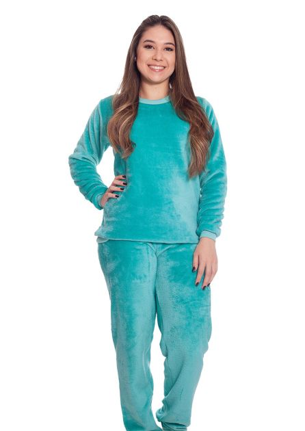 Pijama Feminino Plus Size Longo Mãe e Filha Peluciado Liso Encanto