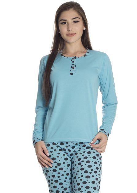 Pijama Feminino Plus Size Longo Malha Calça Poá e Blusa Lisa Kati