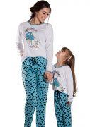 Pijama Feminino Plus Size Longo Malha Estampa Poá Grande