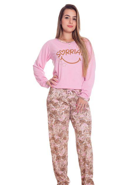 Pijama Feminino Plus Size Longo Malha Estampada Ursinhos