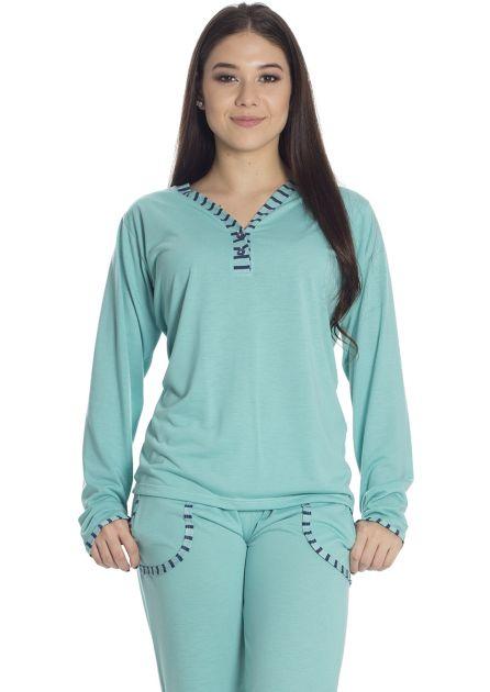 Pijama Feminino Plus Size Longo Malha Lisa Colorida Detalhes em Listras Mila