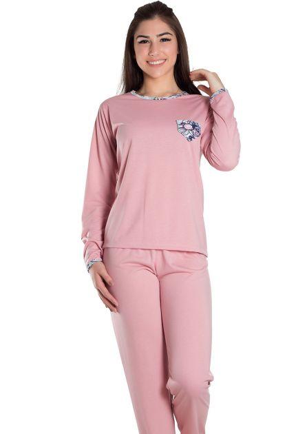 Pijama Feminino Plus Size Longo Malha Lisa com Detalhe Floral