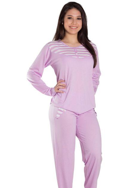 Pijama Feminino Plus Size Longo Malha Lisa com Detalhes Listrado Jojô