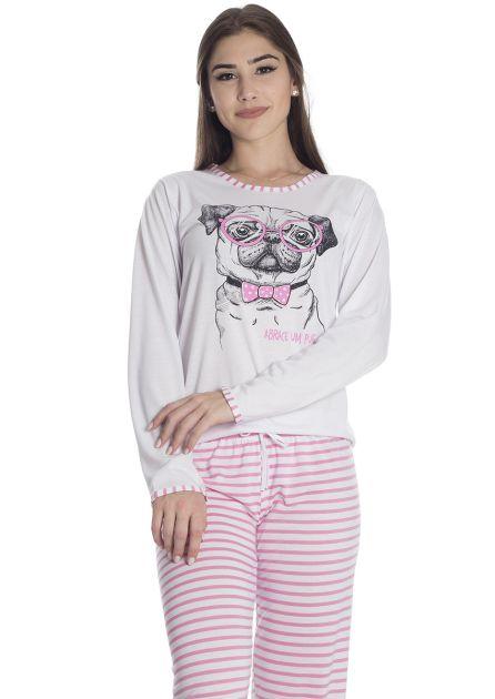 Pijama Feminino Plus Size Longo Malha Listrada AU AU