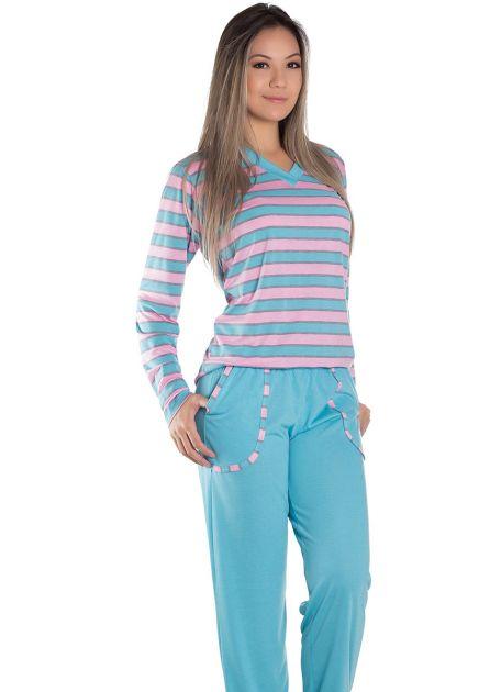 Pijama Feminino Plus Size Longo Malha Listrada Mimi