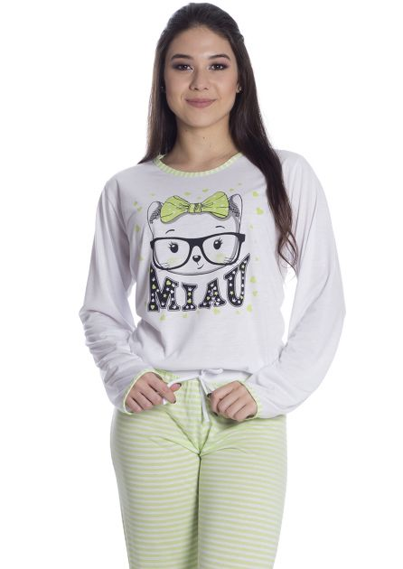 Pijama Feminino Plus Size Longo Malha Listras Verde Miau