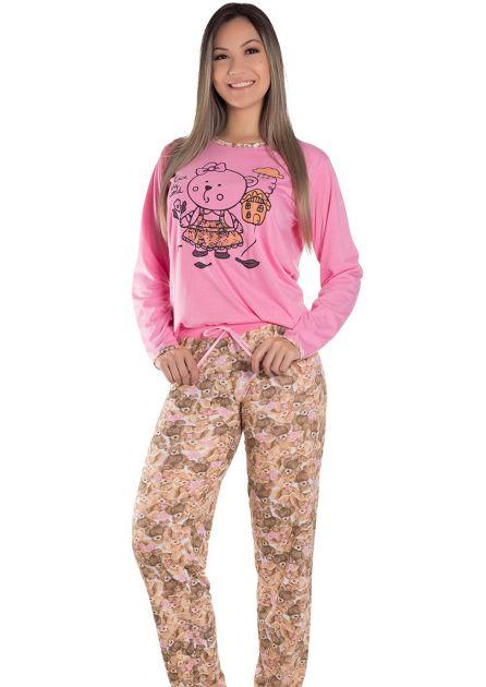 Pijama Feminino Plus Size Longo Malha Rosa Estampa Ursinho