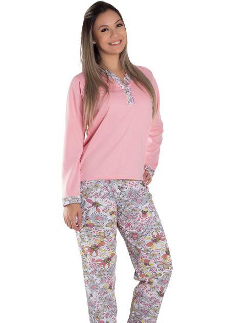 Pijama Feminino Plus Size Longo Semi Aberto Calça Estampada Flanelado Elisa