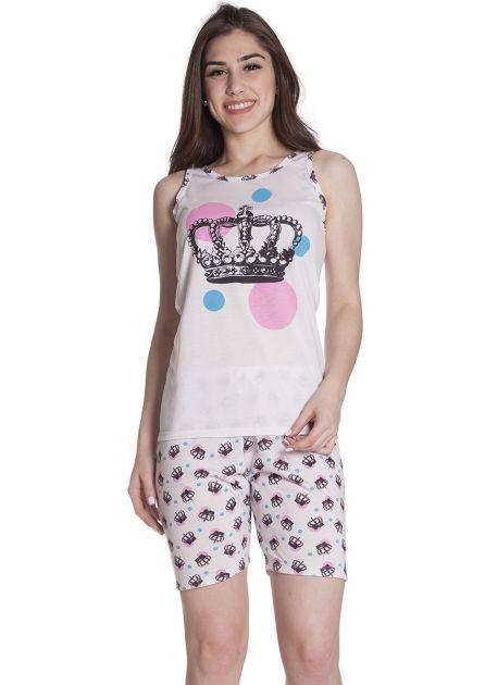 Pijama Feminino Plus Size Malha Estampada Coroa de Princesa