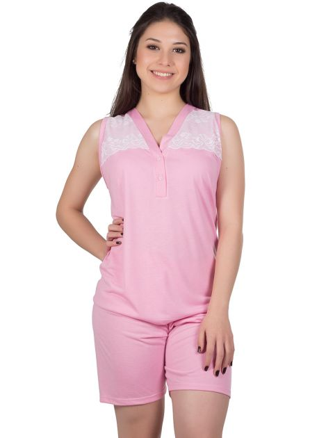 Pijama Feminino Plus Size Malha Lisa Renda Luci
