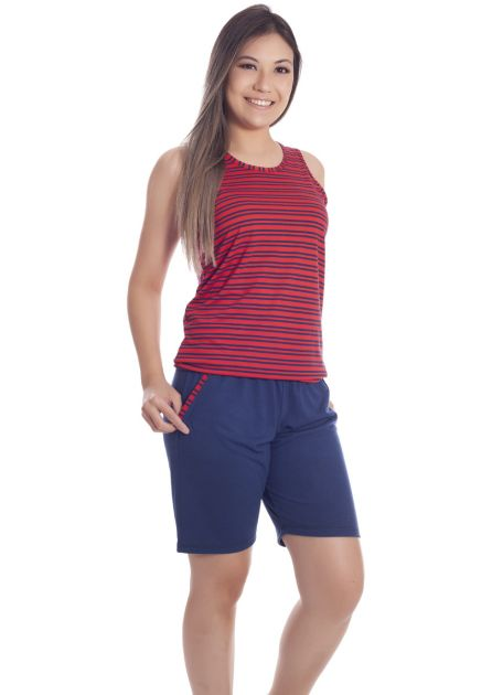 Pijama Feminino Plus Size Malha Listrada Bia