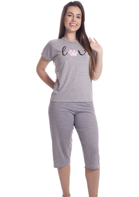 Pijama Feminino Plus Size Pescador Malha Mescla Nina