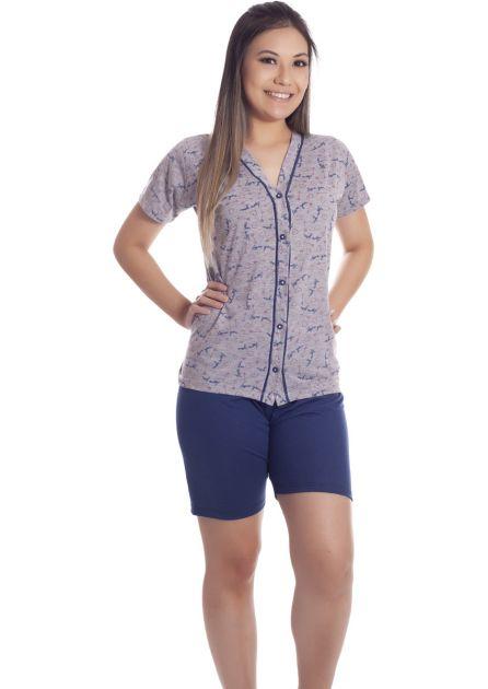 Pijama Feminino Plus Size Semi Aberto Malha Estampada Eve